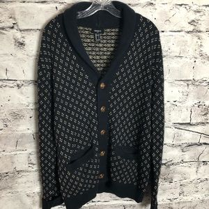 Forever 21 Mens Navy and Brown Cardigan Sweater.